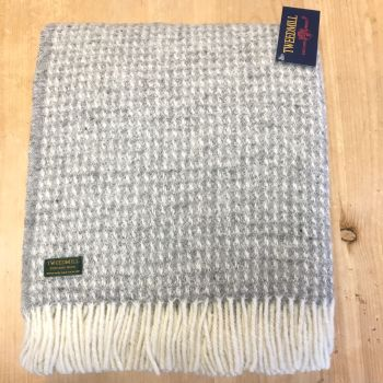 Tweedmill Soft Waffle Silver Grey Pure New Wool Large Throw or Blanket