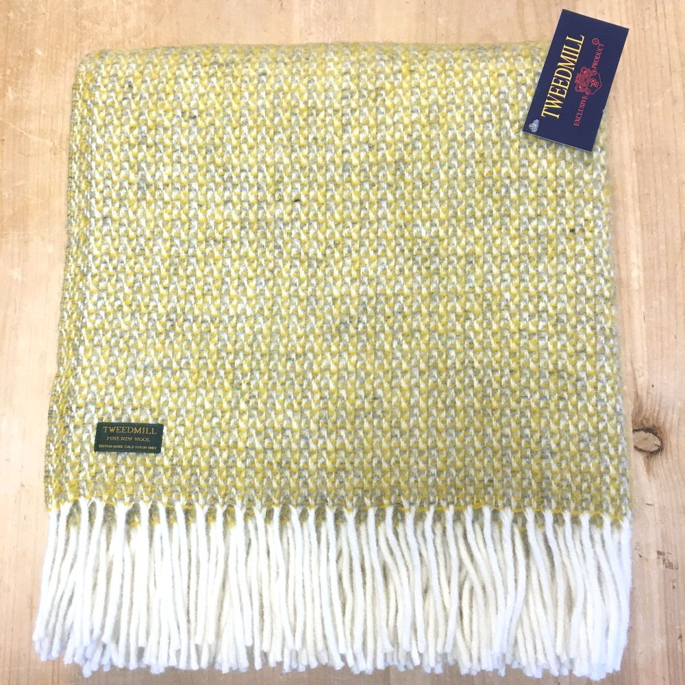 Tweedmill Yellow & Grey Ascot Pure New Wool Throw Blanket