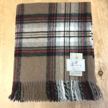 Bronte by Moon Knee Rug or Small Blanket Camel Stewart Pure New Wool
