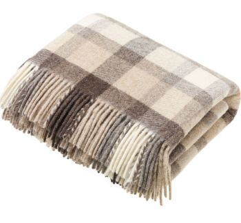 Bronte by Moon Heavyweight Pure New Wool Check Throw / Blanket - Dolomite Natural Beige Square Check