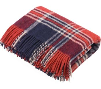 Bronte by Moon Heavyweight Pure New Wool Check Throw / Blanket - Blue Ridge Red Check