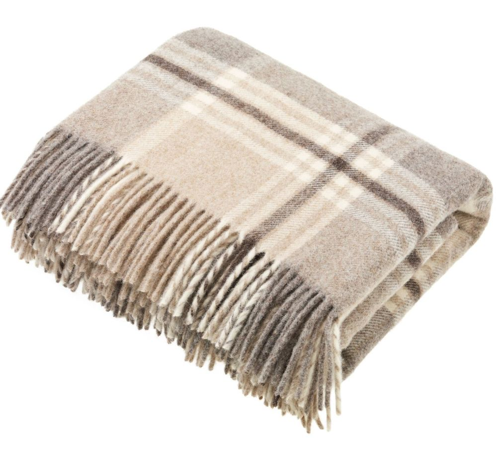 Bronte by Moon Heavyweight Pure New Wool Check Throw / Blanket - Beige Chec