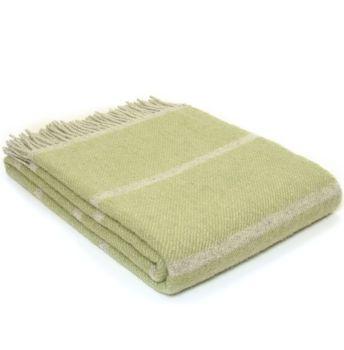 Tweedmill Broad Stripe Fern Green Knee Rug or Small Blanket Pure New Wool