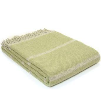 Tweedmill Broad Stripe Fern Green Knee Rug or Small Blanket Pure New Wool