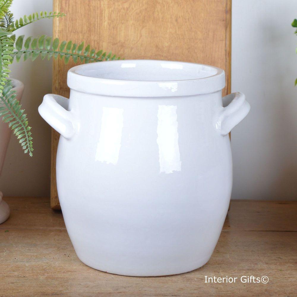 Vintage Botanical Shaped Vase in Bone White with handles