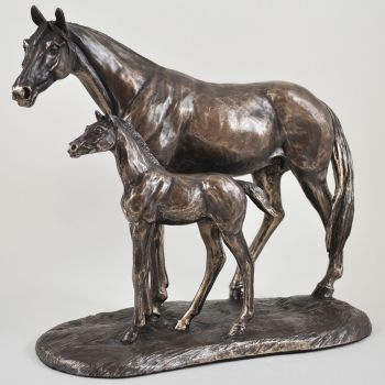 Bronze Sculpture of Mare with her Foal -  Horse Sculpture