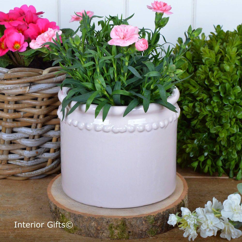 Calamine Pearl Cachepot Handmade - Glazed Terracotta Plant Pot