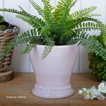 Calamine Pink Pearl Footed Cachepot Handmade - Glazed Terracotta Plant Pot