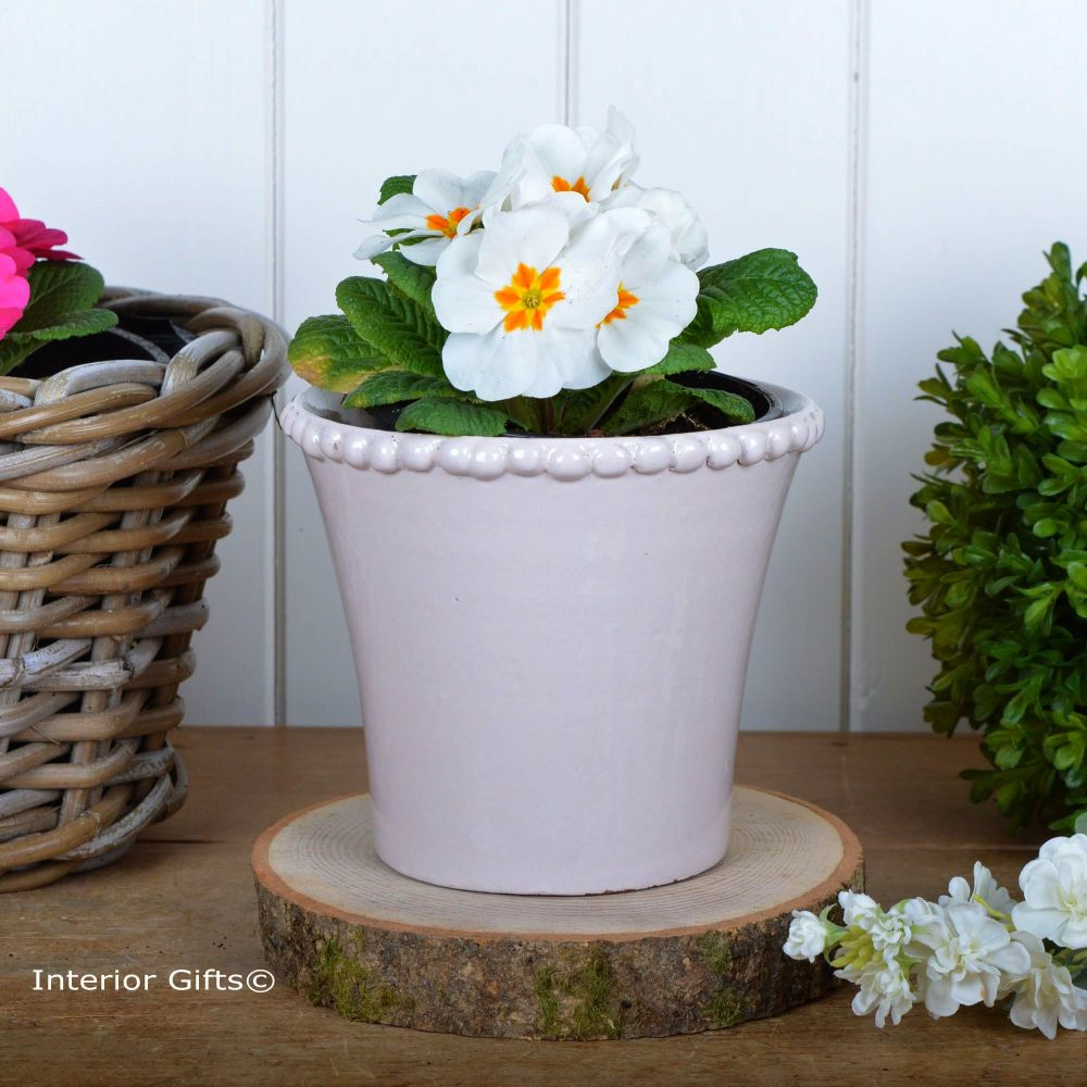 Calamine Pearl Tapered Pot Handmade - Glazed Terracotta Plant Pot Small