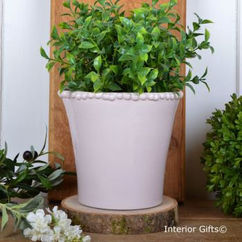 Calamine Pearl Tapered Pot Handmade - Glazed Terracotta Plant Pot Large