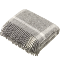 BRONTE by Moon Natural Collection Grey Check Windowpane Throw in Shetland Pure New Wool