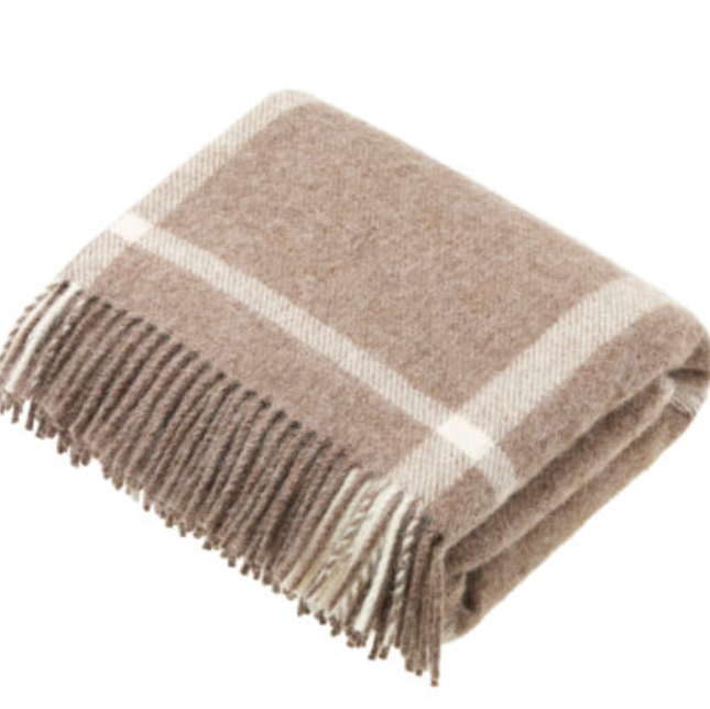 BRONTE by Moon Natural Collection Beige Check Windowpane Throw in Shetland