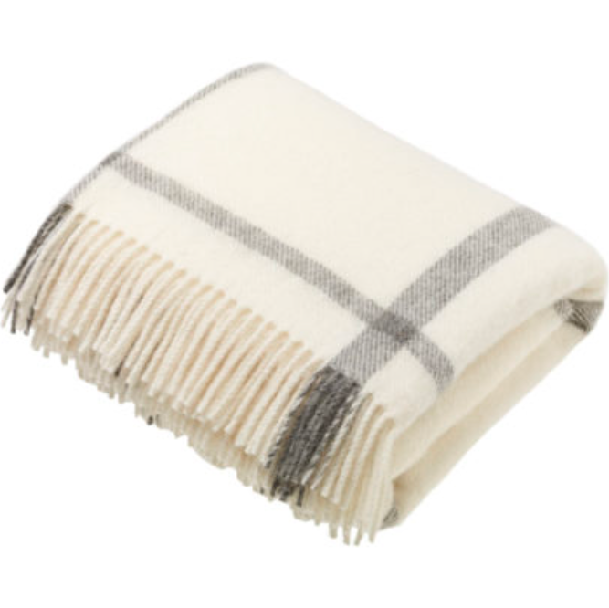 BRONTE by Moon Natural Collection Cream Check Windowpane Throw in Shetland