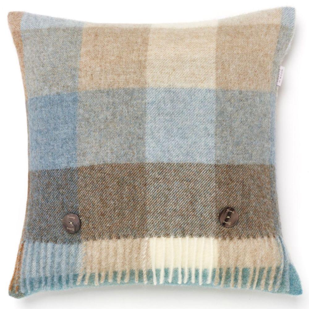 BRONTE by Moon Cushion - Harlequin Eau de Nil Check Shetland Wool