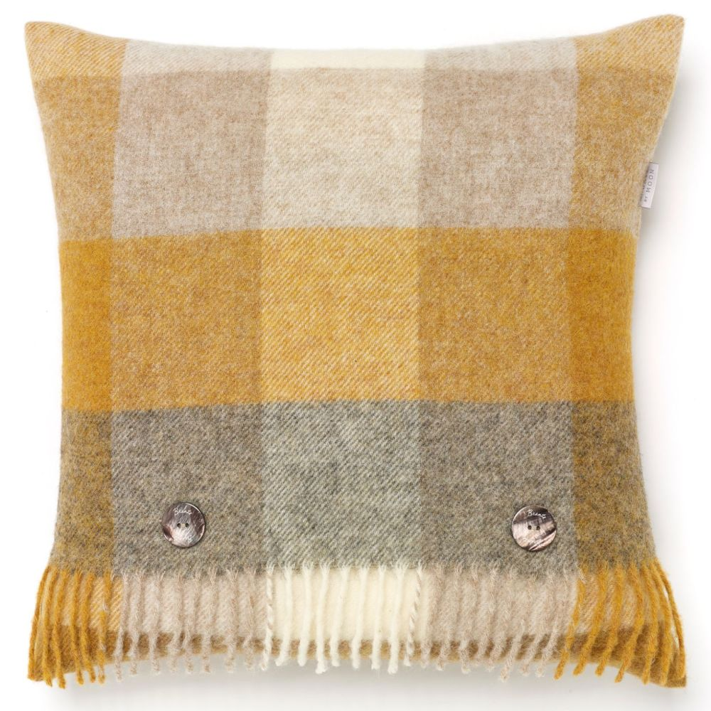 BRONTE by Moon Cushion - Harlequin Mustard Check Shetland Wool