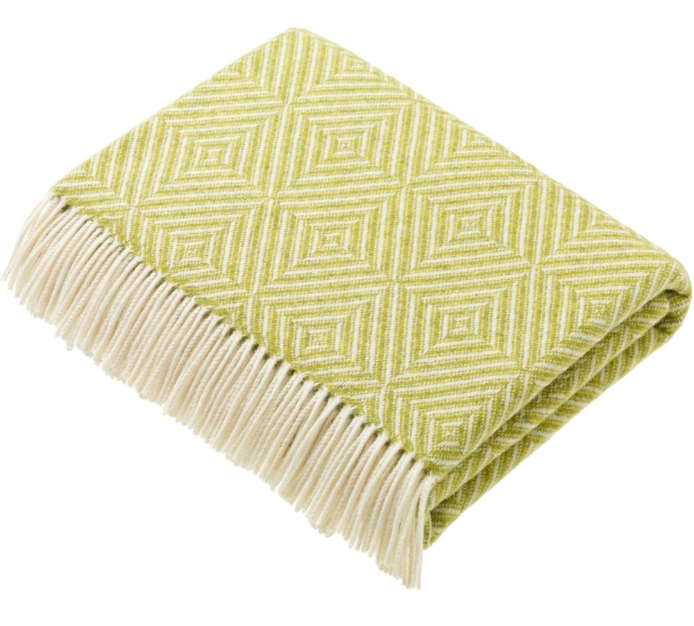 BRONTE by Moon Diamond Lime Throw in Supersoft Merino Lambswool 'NEW'