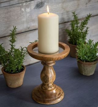 Wooden Candle Holder  Natural Rustic - Large