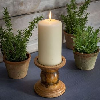 Wooden Candle Holder  Natural Rustic - Small