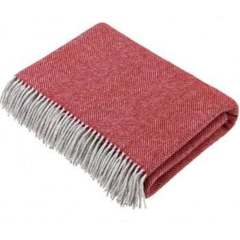 BRONTE by Moon Rich Red & Grey Herringbone Throw in Supersoft Merino Lambswool
