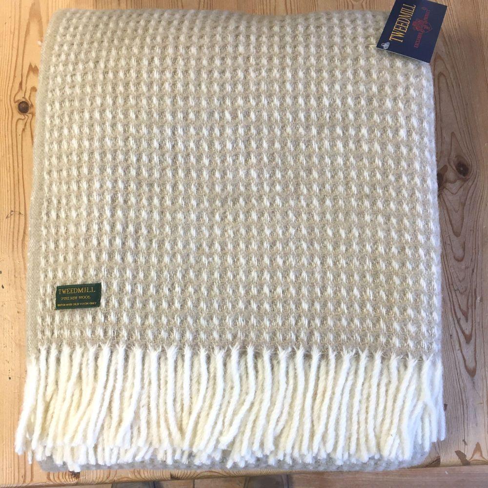 Tweedmill Soft Waffle Beige Pure New Wool Large Throw or Blanket