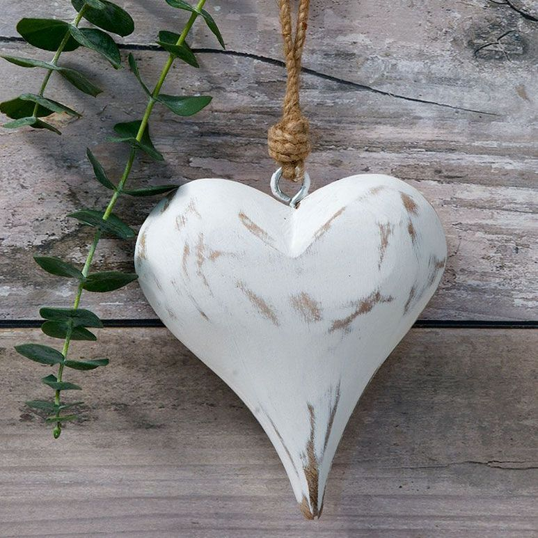 Three Decorative Solid Whitel Wooden Hanging Hearts - small