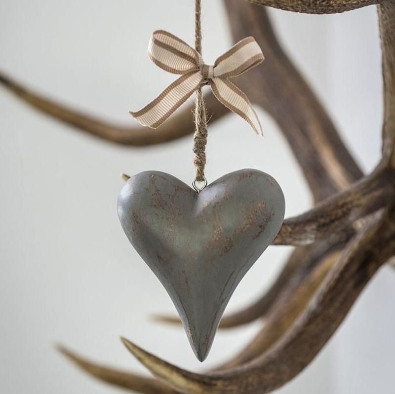 Three Decorative Solid Grey Wooden Hanging Hearts - small