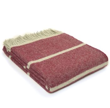 Tweedmill Broad Stripe Rosewood Knee Rug or Small Blanket Pure New Wool