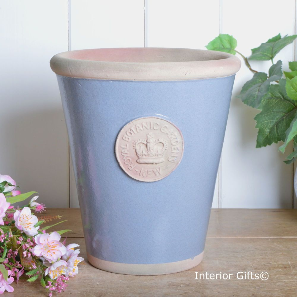 Kew Long Tom Pot in Manor Blue - Royal Botanic Gardens Plant Pot - Large