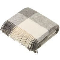 BRONTE by Moon Natural Collection Classic Grey Block Check Throw in Shetland Pure New Wool