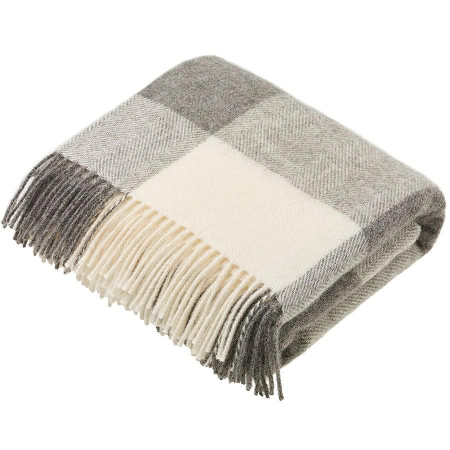BRONTE by Moon Natural Collection Classic Grey Block Check Throw in Shetlan