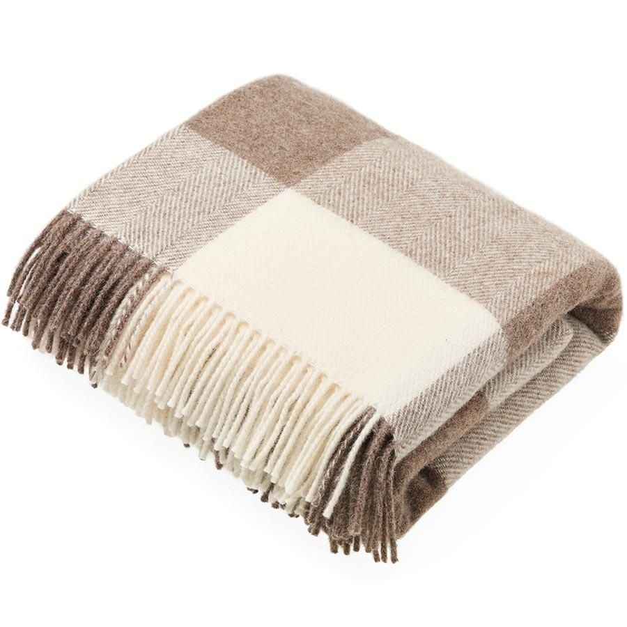 BRONTE by Moon Natural Collection Classic Beige Block Check Throw in Shetla