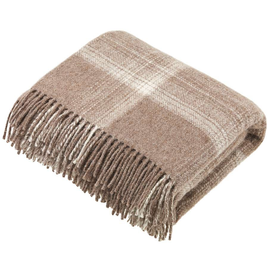 BRONTE by Moon Natural Collection Classic Beige Ombre Check Throw in Shetla