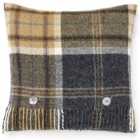 BRONTE by Moon Cushion - Beige & Charcoal Grey Check Shetland Wool