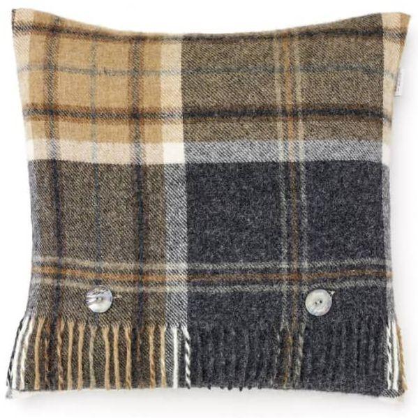 BRONTE by Moon Cushion - Charcoal & Beige Check Shetland Wool