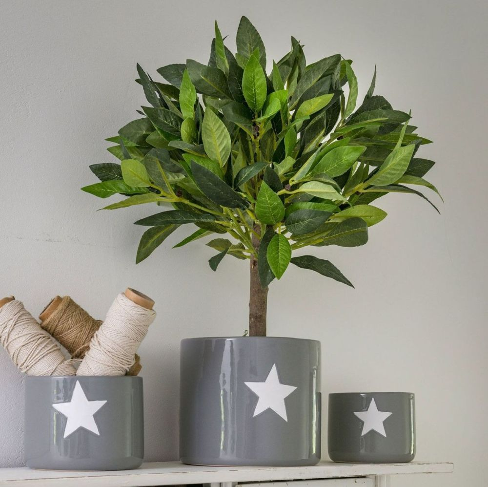 Faux Bay Tree Topiary with Wooden Trunk - 35 cm