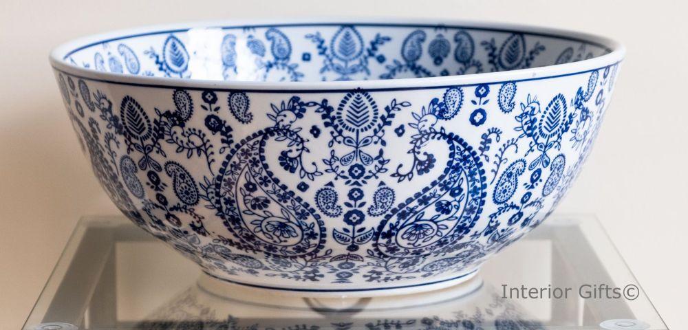 blue & white ceramic fruit bowl or plant pot