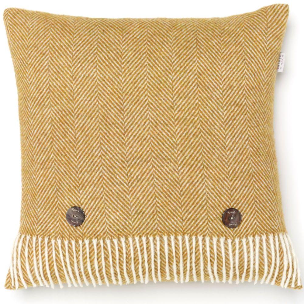 BRONTE by Moon Cushion - Herringbone Gold Merino Lambswool