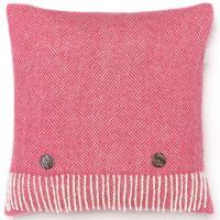 BRONTE by Moon Cushion - Herringbone Cerise Pink Merino Lambswool