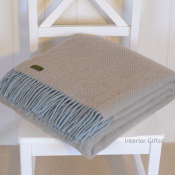 Tweedmill Duck Egg Blue & Beige Herringbone Knee Rug or Small Blanket Throw Pure New Wool