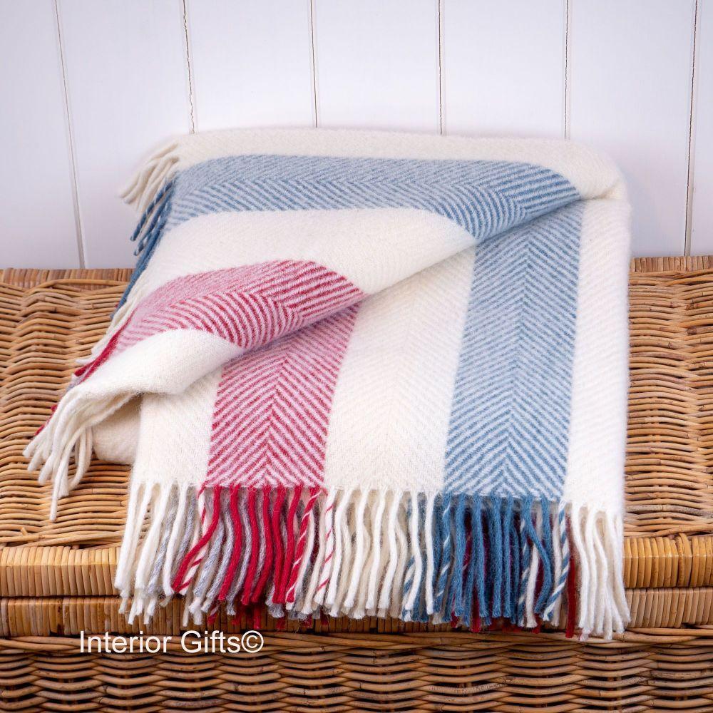Tweedmill Berry & Blue Stripe Cream Herringbone Knee Rug or Small Blanket P