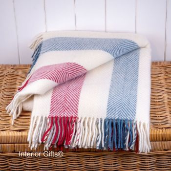 Tweedmill Herringbone Stripe Berry/Blue/Cream Knee Rug or Small Blanket Pure New Wool