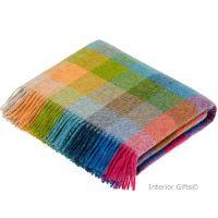 BRONTE by Moon Harlequin Tutti Frutti Throw Pure New Shetland Wool