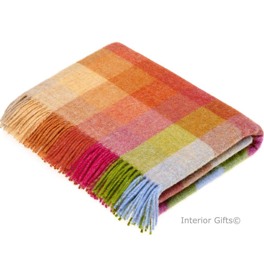 BRONTE by Moon Harlequin Sunshine Throw Pure New Shetland Wool