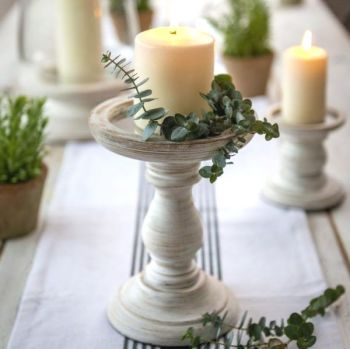 Wooden Candle Holder White Rustic - Large