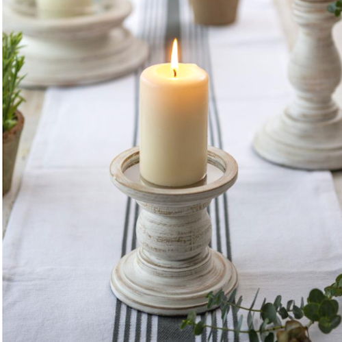 Wooden Candle Holder White Rustic - Small