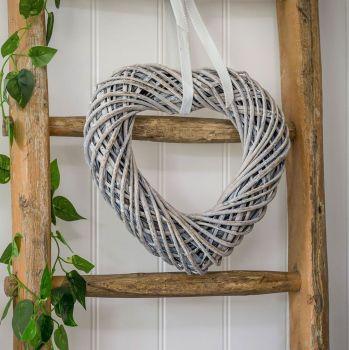 Rustic Woven Wicker Heart  - Grey Wash