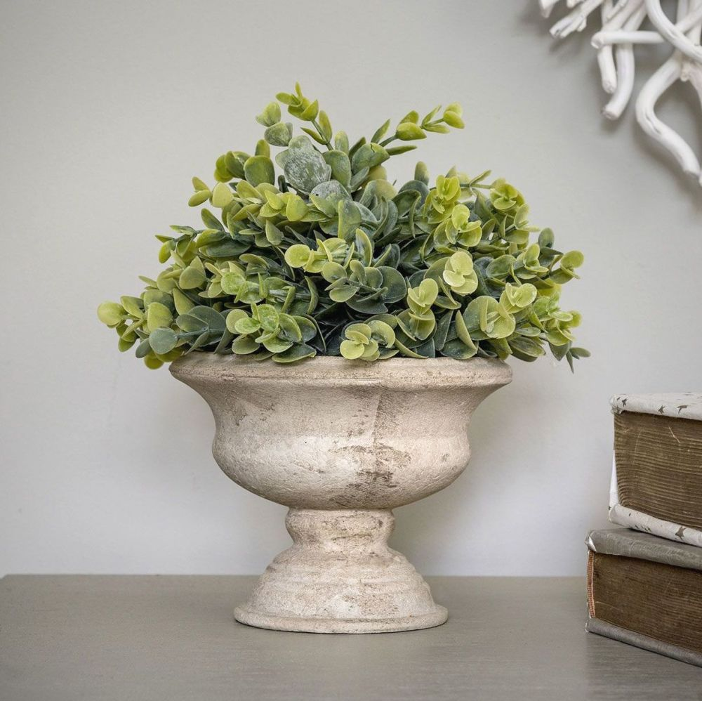 Faux Herb Plant in Natural Stone Effect Urn