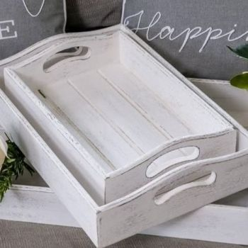 Whitewashed Wooden Tray - Serving or Display - Small
