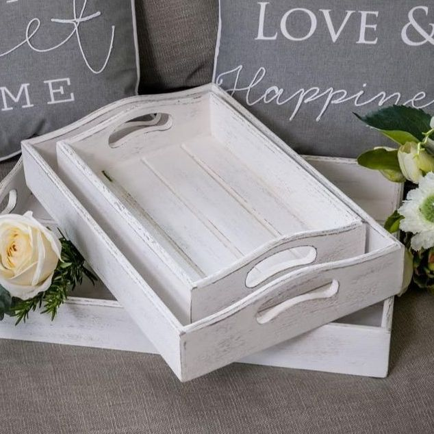 Whitewashed Wooden Tray - Serving or Display - Medium
