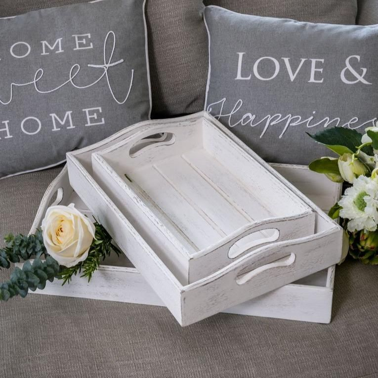 Whitewashed Wooden Tray - Serving or Display - Large